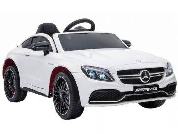 Mercedes Benz C63 AMG Official 12v Electric Kids Ride on Car White with Remote Control